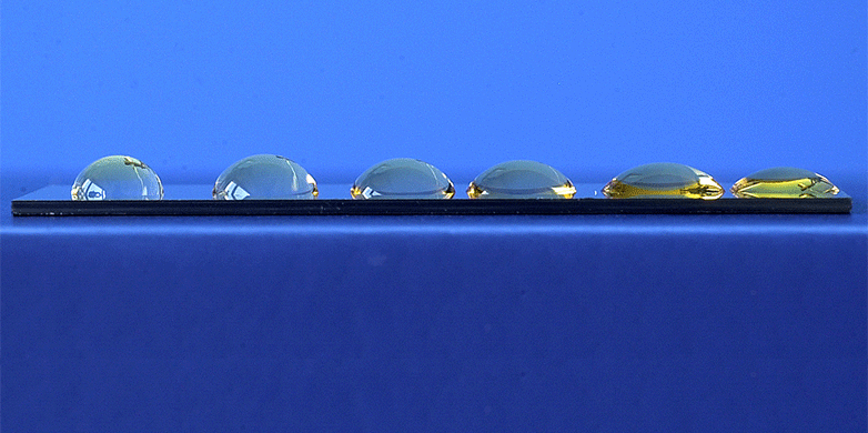 water droplets on a wettability gradient