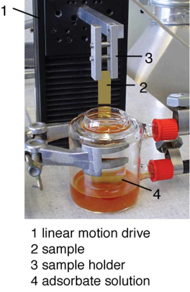 Fig. 1: Schematic of the setup to generate surface-chemical gradients. The immersion is performed by using a computer-controlled linear motion drive.
