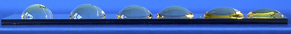 Fig.3 Water droplets along a wettability gradient.